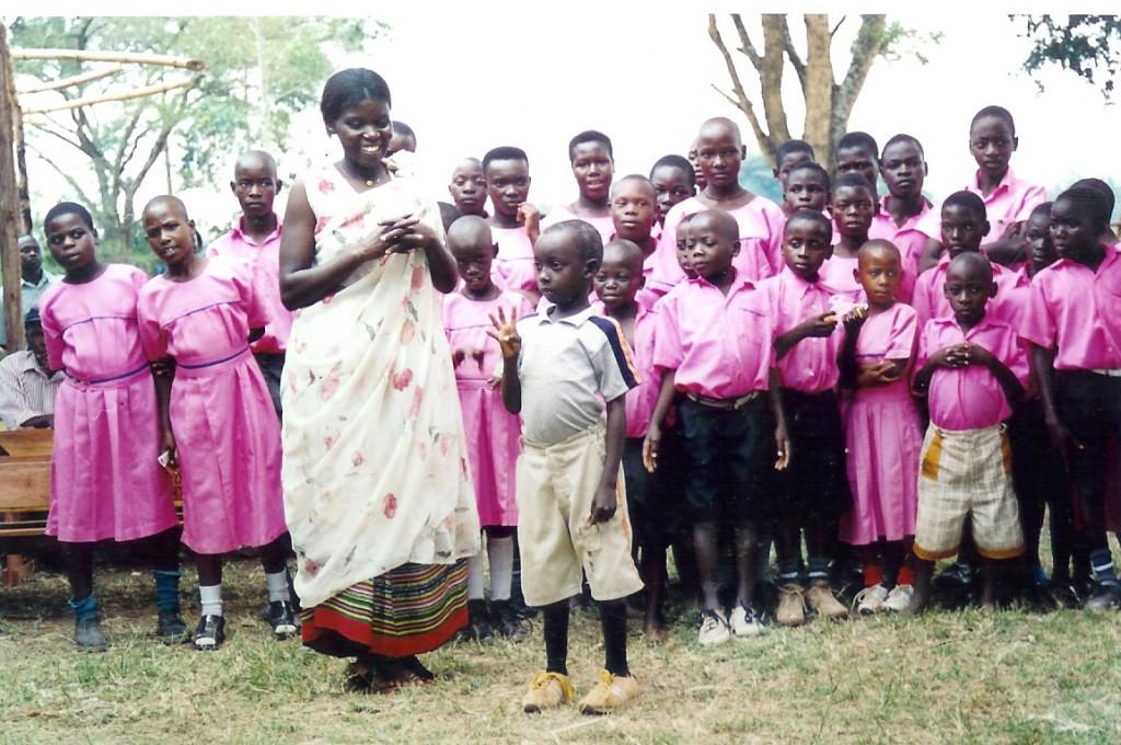 School children gathered on dormitory